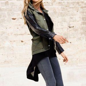 Faux leather utility jacket